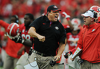 Kelly.Jordan@jacksonville.com--102712--Georgia defensive coordinator Todd grantham celebrates a defensive turnover during the annual Georgia-Florida football game at EverBank Field Saturday October 27, 2012 in Jacksonville, Florida. Georgia went on to win the game 17-9.(The Florida Times-Union, Kelly Jordan)