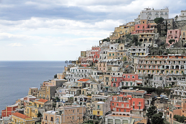 View of the hill town of Positano, Italy on the Amalfi Coast.