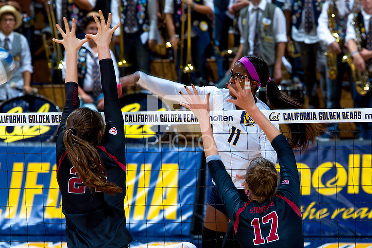 BERKELEY, CA- September 20, 2016: The Cal Bears faced off against the Stanford Cardinals at Haas Pavilion in Berkeley, CA. The Stanford Cardinals won 3 sets to 1.