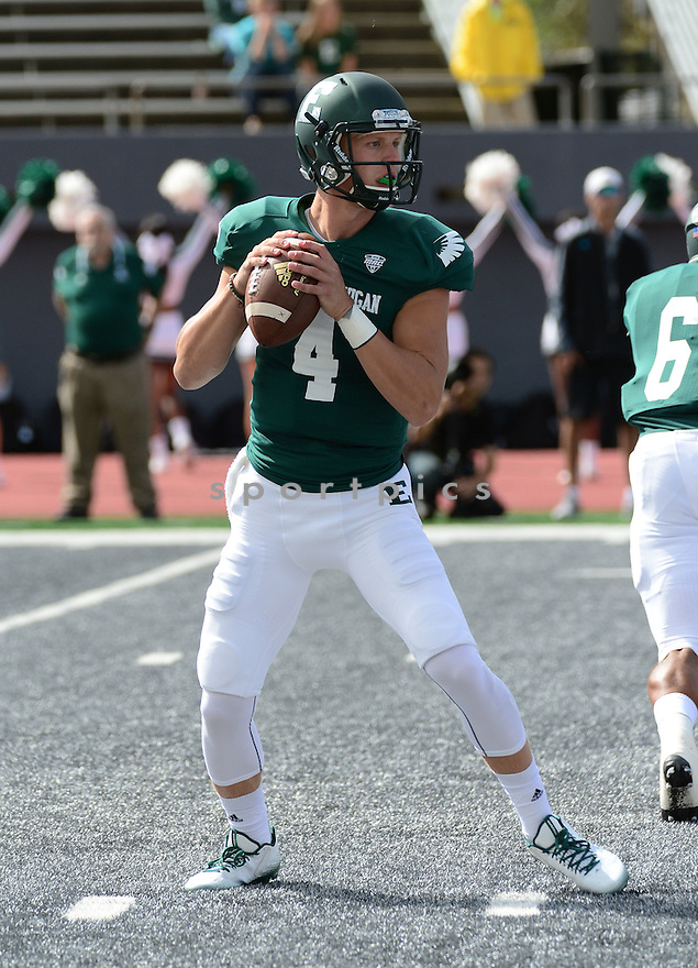 Eastern Michigan Eagles Brogan Roback (4) during a game against the Ball State Cardinals on September 19, 2015 at Rynearson Stadium in Ypsilanti, MI. Ball State beat Eastern Michigan 28-17.