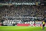 Solna 2015-10-04 Fotboll Allsvenskan AIK - Malm&ouml; FF :  <br /> AIK:s supportrar med banderoll banderoll med texten &quot; R&auml;ttsvidriga avst&auml;ngningar m&aring;ste f&aring; ett slut &quot; under matchen mellan AIK och Malm&ouml; FF <br /> (Foto: Kenta J&ouml;nsson) Nyckelord:  AIK Gnaget Friends Arena Allsvenskan Malm&ouml; MFF supporter fans publik supporters