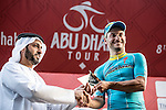 Andrea Guardini (ITA) Astana wins Stage 1, The ADNOC Stage, of the 2015 Abu Dhabi Tour running 174 km from Qasr Al Sarab to Madinat Zayed, Abu Dhabi. 8th October 2015.<br /> Picture: ANSA/Angelo Carconi | Newsfile