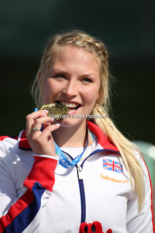 Tuesday August 19, 2014 <br /> Picture: Samantha Kinghorn<br /> RE: Wheelchair racer Samantha wins a gold medal in the Women's 400mm - T53 for Team GB at the 2014 IPC Athletics European Championships at Swansea University International Sports Village.