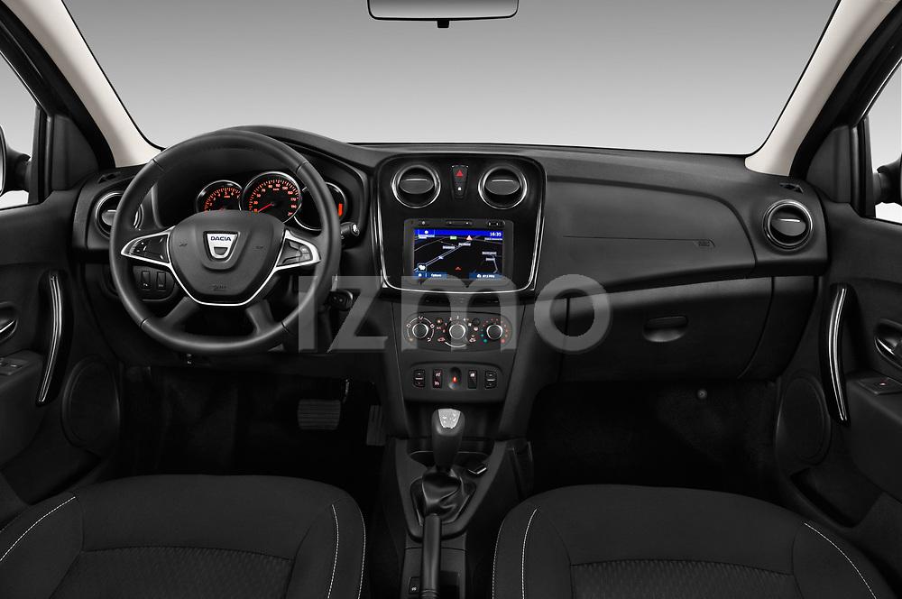 Stock photo of straight dashboard view of 2017 Dacia Logan-MCV Laureate 5 Door Wagon Dashboard