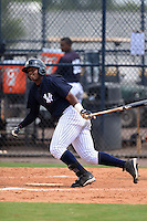 GCL Yankees 1 outfielder Alexander Palma (36) at bat during the second game of a doubleheader against the GCL Braves on July 1, 2014 at the Yankees Minor League Complex in Tampa, Florida.  GCL Braves defeated the GCL Yankees 1 by a score of 3-1.  (Mike Janes/Four Seam Images)