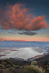 Morning light on cloud over the Badwater playa as seen from Dante's View, Death Valley National Park, California