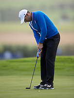 26.09.2014. Gleneagles, Auchterarder, Perthshire, Scotland.  The Ryder Cup.  Sergio Garcia (EUR) sinks a his putt during Friday Fourballs.