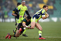 Sam James of Sale Sharks is tackled. Aviva Premiership match, between Northampton Saints and Sale Sharks on March 3, 2018 at Franklin's Gardens in Northampton, England. Photo by: Patrick Khachfe / JMP