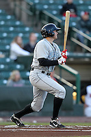 Syracuse Chiefs outfielder Mark Teahen #24 at bat during a game against the Rochester Red Wings at Frontier Field on April 25, 2012 in Rochester, New York.  Syracuse defeated Rochester 10-5.  (Mike Janes/Four Seam Images)