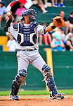 18 July 2010: Staten Island Yankees catcher Francisco Arcia in action against the Vermont Lake Monsters at Centennial Field in Burlington, Vermont. The Lake Monsters fell to the Yankees 9-5 in NY Penn League action. Mandatory Credit: Ed Wolfstein Photo