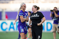 Orlando, Florida - Sunday, May 8, 2016: Orlando Pride midfielder Kaylyn Kyle (6) chats with Seattle Reign FC head coach Laura Harvey after a National Women's Soccer League match between Orlando Pride and Seattle Reign FC at Camping World Stadium.