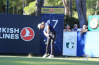 Tommy Fleetwood (ENG) tees off the 17th tee during Friday's Round 2 of the 2018 Turkish Airlines Open hosted by Regnum Carya Golf &amp; Spa Resort, Antalya, Turkey. 2nd November 2018.<br /> Picture: Eoin Clarke | Golffile<br /> <br /> <br /> All photos usage must carry mandatory copyright credit (&copy; Golffile | Eoin Clarke)