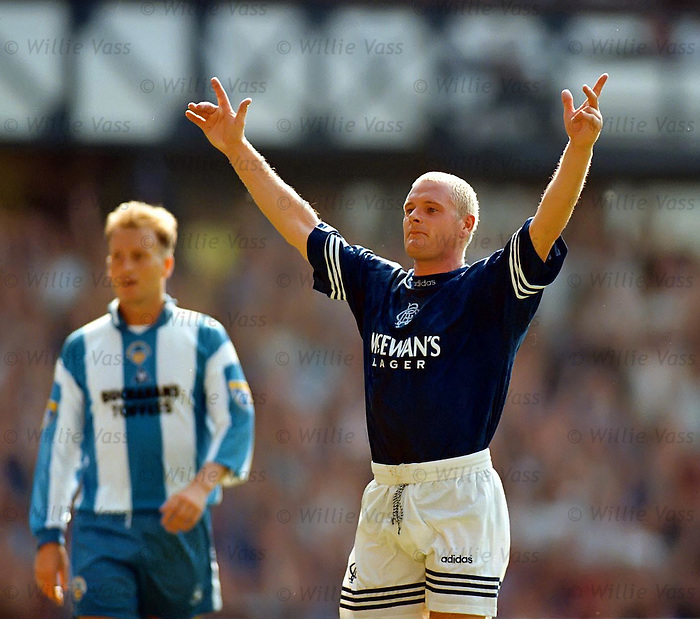 Paul Gascoigne celebrates his first competitive goal in a Rangers shirt as Morton go down 3-0 at Ibrox