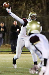 WATERBURY CT. 22 November 2017-112217SV10-#11 Philip Dawson of Sacred Heart/Kaynor tosses a ball to his wide receiver against Wilby High at Municipal Stadium in Waterbury Wednesday.<br /> Steven Valenti Republican-American