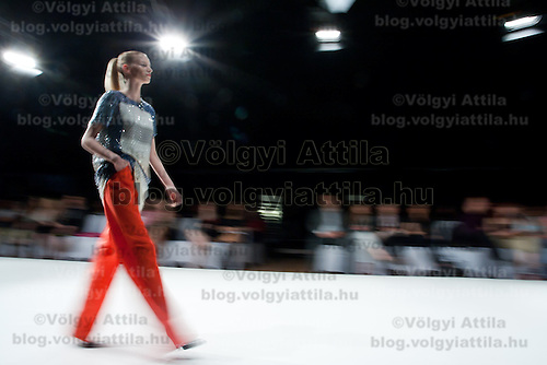 Model presents a SportMax creation by designer Max Mara during the Essential Looks fashion show in Budapest, Hungary on April 30, 2011. ATTILA VOLGYI