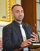 American professional boxer and commentator Paulie Malignaggi makes remarks at a press conference to discuss the observational study on the brain health of active and retired professional fighters on Capitol Hill in Washington, DC on Tuesday, April 26, 2016.  The study, led by researchers from the Cleveland Clinic, is  designed to better identify, prevent and treat Chronic Traumatic Encephalopathy (CTE.)<br /> Credit: Ron Sachs / CNP