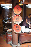 VIETNAM, Hanoi, traditional street food restaurant called Quan An Ngon, a list of menu items from this particular food stall