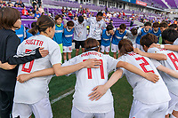 ORLANDO, FL - MARCH 05: Japan Huddles during a game between Spain and Japan at Exploria Stadium on March 05, 2020 in Orlando, Florida.