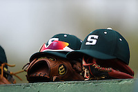 Slippery Rock hats, gloves and sunglasses on top of the dugout before a game against the University of the Sciences Devils on March 6, 2015 at Jack Russell Field in Clearwater, Florida.  Slippery Rock defeated University of the Sciences 6-3.  (Mike Janes/Four Seam Images)