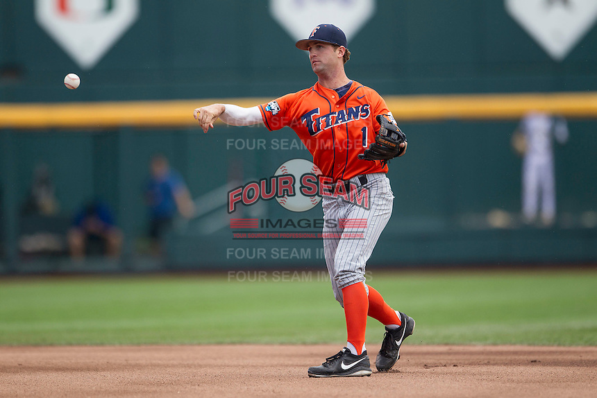 Cal State Fullerton second baseman Taylor Bryant (1) makes a throw to second base during the NCAA College baseball World Series against the Vanderbilt Commodores Titans on June 15, 2015 at TD Ameritrade Park in Omaha, Nebraska. Vanderbilt beat Cal State Fullerton 4-3. (Andrew Woolley/Four Seam Images)