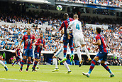 9th September 2017, Santiago Bernabeu, Madrid, Spain; La Liga football, Real Madrid versus Levante; Jefferson Lerma (8) of Levante goes up to challenge with Sergio Ramos Garcia (4) of Real Madrid
