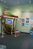 One of the many exhibits at the Pacific Tsunami Museum features debris from a tsunami, downtown Hilo, Big Island of Hawai'i.