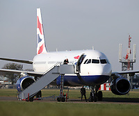 BNPS.co.uk (01202 558833)<br /> Pic: CorinMesser/BNPS<br /> <br /> BA passenger jets have started arriving at Bournemouth Airport today as the airline puts its aircraft into storage after the collapse in global air travel.<br /> <br /> Five planes have arrived so far with many more thought to be on the way.