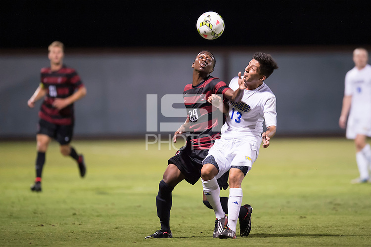 STANFORD, CA - August 19, 2014: Stanford forward Marion Bryce (29) during the Stanford vs CSU Bakersfield men's soccer match in Stanford, California. Final score, Stanford 1, CSU Bakersfield 0.