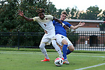 ELON, NC - SEPTEMBER 02: Elon's Jaiden Fortune (9) and Presbyterian's Luca Ziegler (GER) (4). The Elon University Phoenix hosted the Presbyterian College Blue Hose on September 2, 2017 at Rudd Field in Elon, NC in a Division I college soccer game. Elon won the game 2-0.