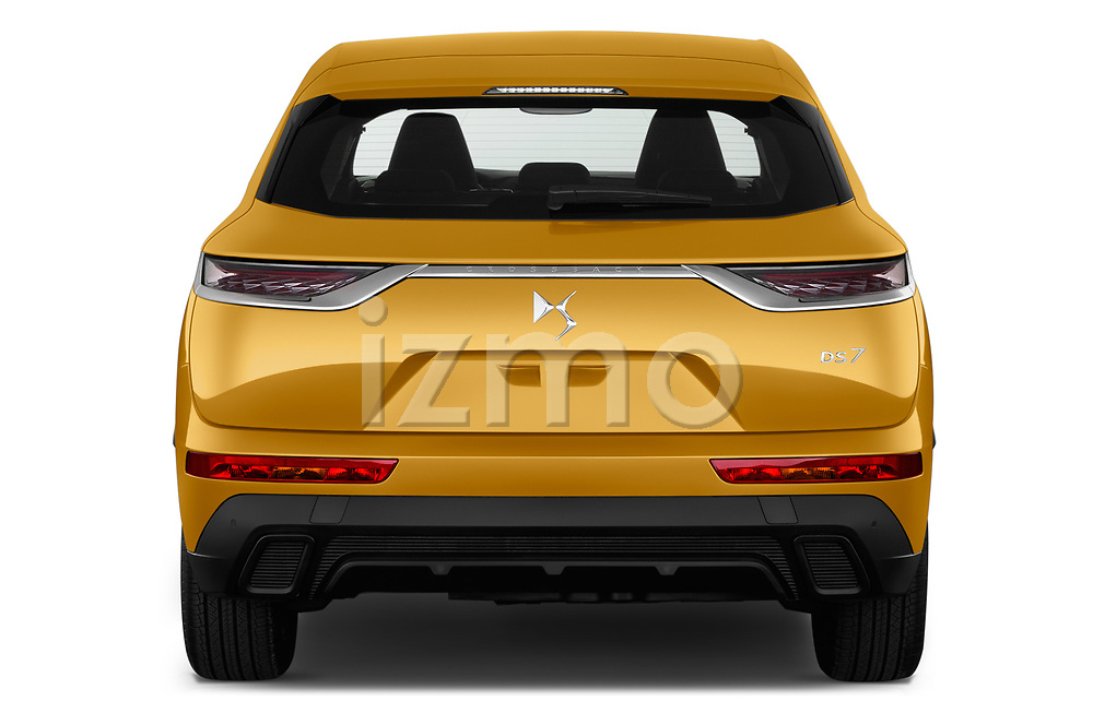 Straight rear view of a 2018 DS DS7 Crossback Be Chic 5 Door SUV stock images