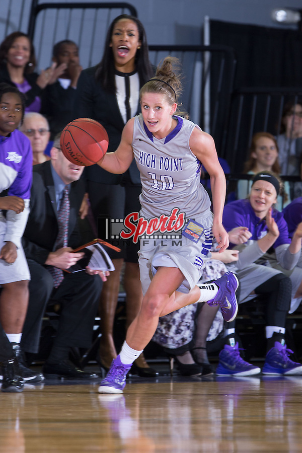Lindsay Puckett (10) of the High Point Panthers starts a fast break during first half action against the Presbyterian Blue Hose at Millis Athletic Center on December 6, 2014 in High Point, North Carolina.  The Panthers defeated the Blue Hose 54-49.   (Brian Westerholt/Sports On Film)