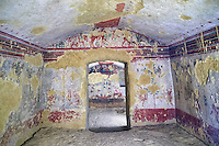 """Underground Etruscan tomb Known as """"Tomba della Caccia e della Pesca"""". A double chamber with double sloping ceiling. In the tsecond chamber can be see a scene of hunting and fishing in the style of the """"little Ionic masters"""" . 520-510 BC. Excavated 1873 , Etruscan Necropolis of Monterozzi, Monte del Calvario, Tarquinia, Italy. A UNESCO World Heritage Site."""