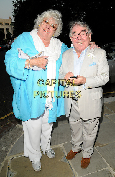 ANNE HART & RONNIE CORBETT.Leaving Sir David Frost's Summer Party, Carlyle Square, London, England, UK,  2nd July 2009..full length grey gray suit turquoise jacket white pashmina glasses beige brown shoes suede husband wife .CAP/CAN.©Can Nguyen/Capital Pictures