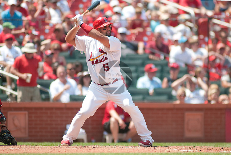 10 July 2011            St. Louis Cardinals first baseman Albert Pujols (5) bats. The St. Louis Cardinals defeated the Arizona Diamondbacks 4-2 in the final game of a four-game series on Sunday July 10, 2011 at Busch Stadium in downtown St. Louis.