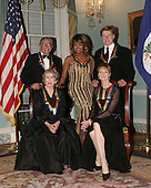 """The 2005 Kennedy Center Honorees pose for a """"Class Photo"""".  Back row, left to right: singer Tony Bennett, singer Tina Turner, actor Robert Redford; Front row, left to right: actress Julie Harris and ballet dancer Suzanne Farrell at the United States Department of State Harry S. Truman Building in Washington, D.C. on December 3, 2005 in Washington, DC..Credit: Carol Pratt via CNP"""
