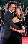 "Actor Robert Downey Jr. and wife Susan Downey arrive at the Los Angeles Premiere Of ""Tropic Thunder"" at the Mann's Village Theater on August 11, 2008 in Los Angeles, California."