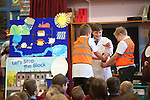 Welsh Water Stop The Block campaign.<br /> Pupils from Ysgol Bronllwyn learning about what not to flush down the toilet.<br /> <br /> 19.11.13<br /> &copy;Steve Pope-FOTOWALES