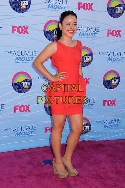 Cierra Ramirez.Teen Choice Awards 2012 - Arrivals held at Gibson Amphitheatre, Universal City, California, USA..July 22nd, 2012.full length pink sleeveless peplum dress hand on hip beige peep toe shoes .CAP/ADM/BP.©Byron Purvis/AdMedia/Capital Pictures.