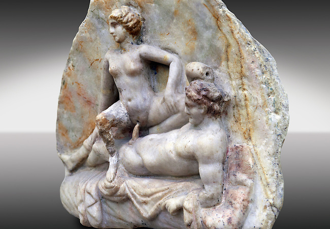 Erotic Roman Bas Relief Sculpture of a man & woman having sex Pompeii. 1st Cent AD, Naples Archaeological Museum