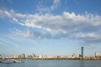 skyline from MIT, Charles River, clouds, Boston, MA