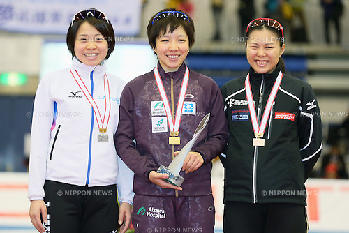 (L to R) Miyako Sumiyoshi, Nao Kodaira, Maki Tsuji (JPN), DECEMBER 29, 2013 - Speed Skating : Medalists pose with thier medal during the Japan Olympic Team Trials for Sochi, Women's 1000m victory ceremony at M-Wave in Nagano, Japan. (Photo by Yusuke Nakanishi/AFLO SPORT)
