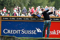 Jamie Donaldson (WAL) on the 6th during the final day of the Omega European Masters, Crans-Sur-Sierre, Crans Montana, Switzerland.4/9/11.Picture: Golffile/Fran Caffrey..