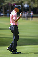 Tiger Woods (USA) after sinking his putt on 11 during round 2 of the World Golf Championships, Mexico, Club De Golf Chapultepec, Mexico City, Mexico. 2/22/2019.<br /> Picture: Golffile | Ken Murray<br /> <br /> <br /> All photo usage must carry mandatory copyright credit (© Golffile | Ken Murray)