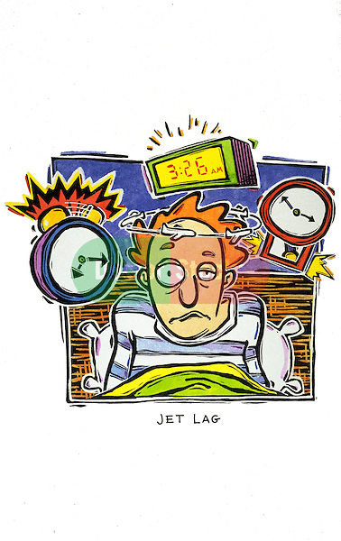 man in bed with jet lag