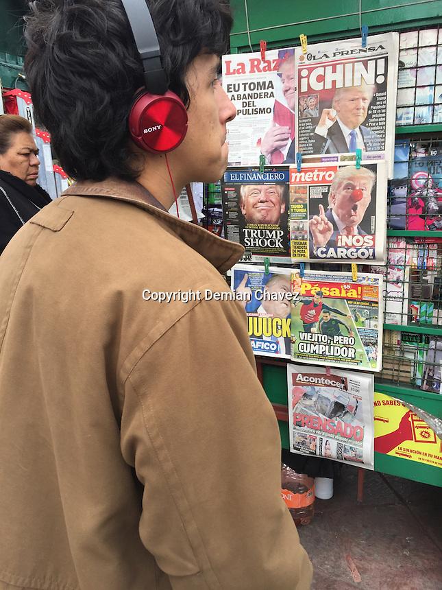 Quer&eacute;taro, Qro. 9 de Noviembre de 2016.- Sorpresa, desconcierto, y enojo, en los titulares de la prensa, as&iacute; como en el &aacute;nimo de los espectadores de las portadas de medios de comunicaci&oacute;n; tras la victoria del candidato republicano Donald Trump. <br /> <br /> Foto: Demian Ch&aacute;vez