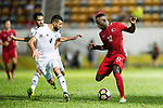 Akande, Alexander Oluwatayo of Hong Kong (R) fights for the ball with Baha Abdelrahman Suleiman of Jordan (L) during the International Friendly match between Hong Kong and Jordan at Mongkok Stadium on June 7, 2017 in Hong Kong, China. Photo by Marcio Rodrigo Machado / Power Sport Images