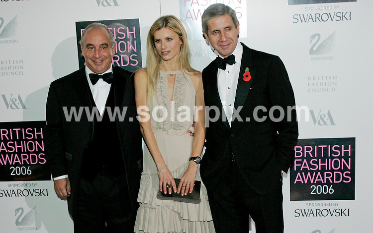 "ALL ROUND PICTURES FROM SOLARPIX.COM.**NO PUBLICATION IN FRANCE, SCANDANAVIA, AUSTRALIA AND GERMANY** UK RESTRICTIONS:  NO NEWSPAPER PUBLICATION, MAGAZINES ONLY**.Philip Green, Laura Bailey and Stuart Rose attend the 2006 British Fashion Awards at the V&A Museum in London on 02.11.06. JOB REF: 3009/SFE..""MUST CREDIT SOLARPIX.COM OR DOUBLE FEE WILL BE CHARGED"".."
