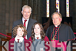 Bishop Bill Murphy with Fossa NS pupils Emer O'Reilly (right) and Aoife Griffin with their teacher Kieran Coffey at the Confirmation in St Mary's Cathedral on Friday   Copyright Kerry's Eye 2008