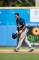 Lakeland Flying Tigers left fielder Derek Hill (18) walks off the field after being called out during a game against the Dunedin Blue Jays on May 27, 2018 at Dunedin Stadium in Dunedin, Florida.  Lakeland defeated Dunedin 2-1.  (Mike Janes/Four Seam Images)