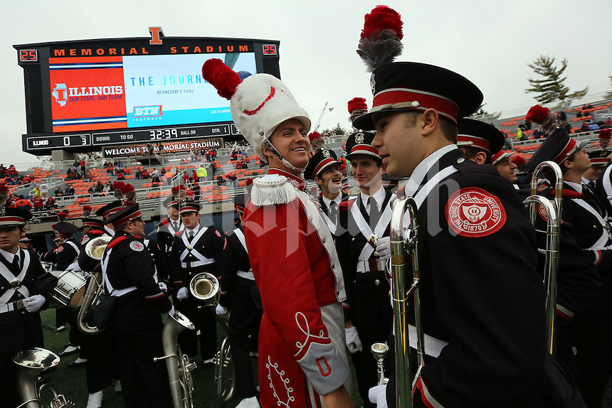 Ohio State Marching Band Drum Major Kyle West laughs with friends before the first quarter of their game against the Fighting Illini at Memorial Stadium in Champaign, Ill on November 16, 2013. (Columbus Dispatch photo by Brooke LaValley)